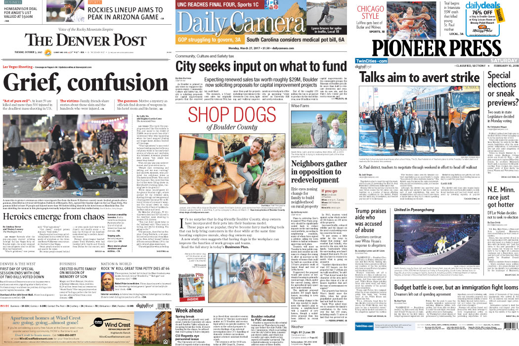 Newspaper Design: Denver Post, Daily Camera, Pioneer Press